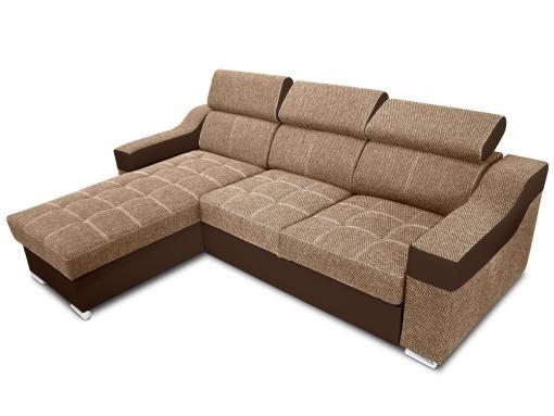 Угловой диван-кровать с высокими подголовниками - Albi. Бежевая ткань, коричневая искусственная кожа. Угол слева