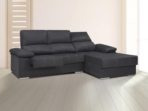 Chaise longue con asientos extraíbles, respaldos reclinables, brazo siesta - Lier. Gris oscuro, derecha