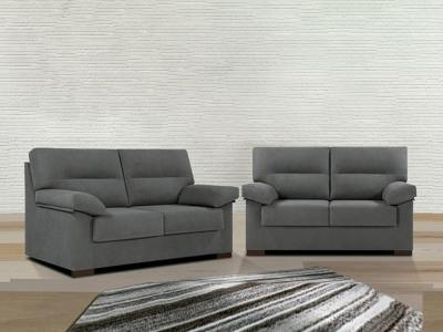 Sofa Set - 3 Seater and 2 Seater in Grey Synthetic Fabric - Liege