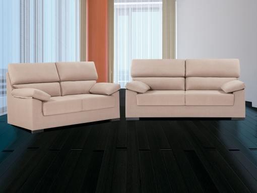 Conjunto de sofás 3+2 en tela sintética - Leuven. Gris. Beige (turrón)