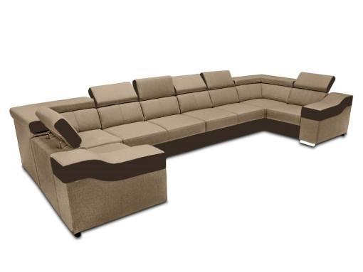 Sofá en forma de U, 8 plazas, XXL - Chessy. Tela beige, piel sintética marrón