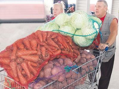 Предприимчивые дончане запасаются на зиму, загружая овощами полные тележки.