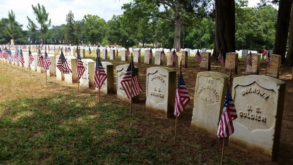 Headstones with American Flag