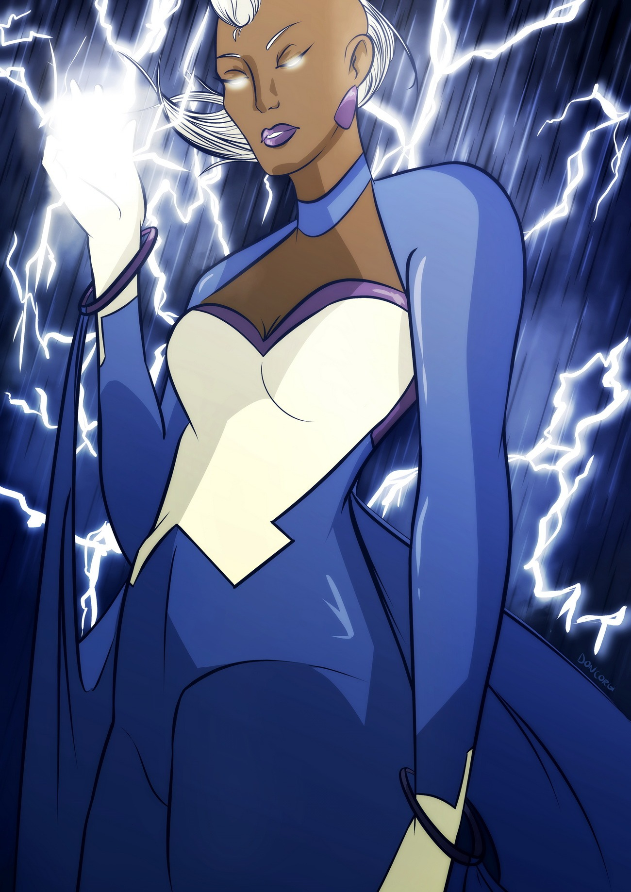 storm xmen, fanart, fan art, digital painting, marvel comics, illustration, wild, badass