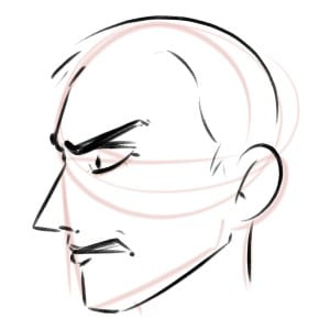 And that's how we draw an angry face from the side, step by step!
