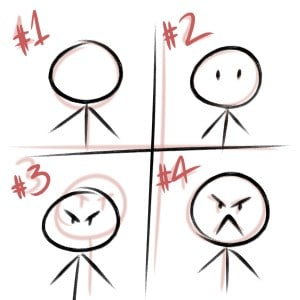 Drawing a stickman to help you figure out how to draw emotions is a great exercise! Here's a step by step process.