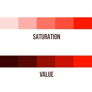 In Color Theory for artists, the differences between Saturation and Value are very important to know.