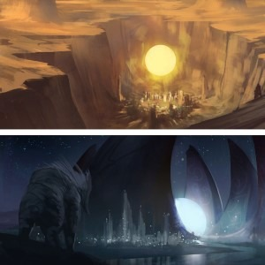 The use of warm and cold colors in the work of Noah Bradley - Sun and Moon.
