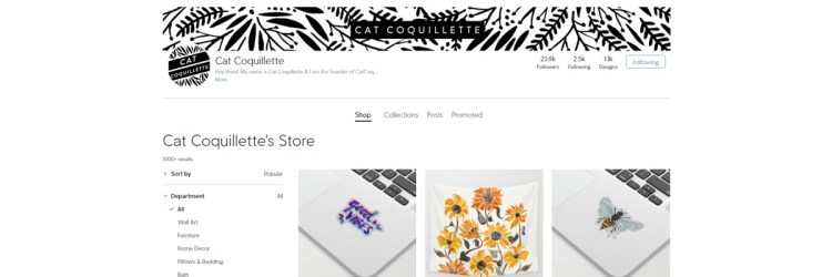 Cat Coquillette is a Designer and Artist that diversifies her incomes, for example, by selling on society6
