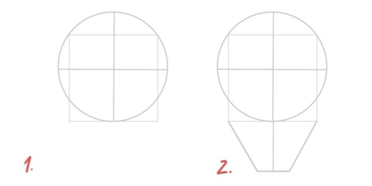 Draw a square inside the face to know where the jaw is.