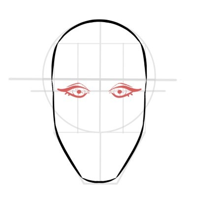 Draw the eyes on the face, simple shapes!