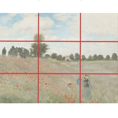 Rule of Thirds is pretty important when figuring out composition, here's Poppy Field by Monet