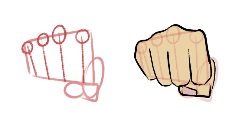 Here's how a hand looks being drawn from the front.