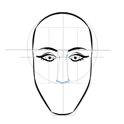 Sketch the nose in your face drawing.