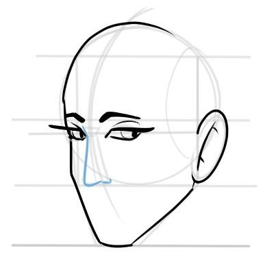 The nose is very easy to draw in a three quarters view, a simple slanted triangle.