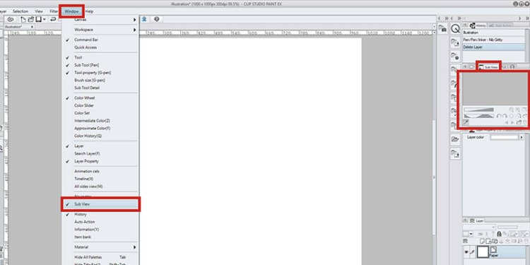 In Clip Studio Paint go to Window - Subview to open the subview menu!