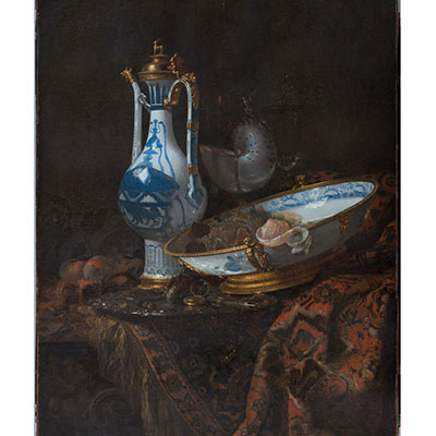 Example of Willem Kalf's work - Still Life With Ewer and Basin, Fruit, Nautilus Cup, and other Objects -