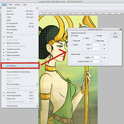 Here's how you change the settings of your grid in Clip Studio Paint - CSP