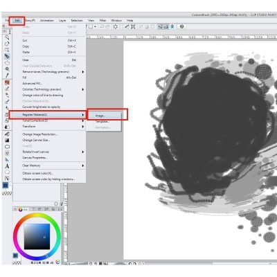 Custom brushes in clip studio paint are made by registering the materials in the software itself!