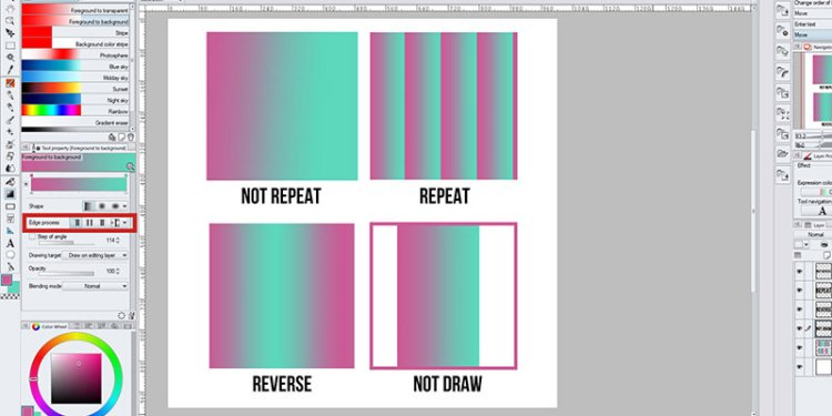 Here are the differences of the gradient tool Edge Process function