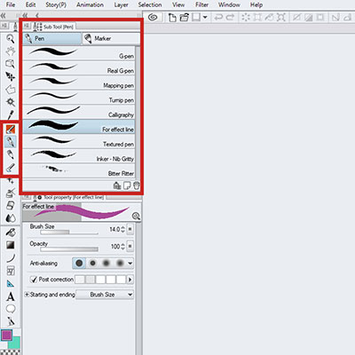 Select the Brush tool or Pencil tool in Clip Studio Paint Pro and start drawing!