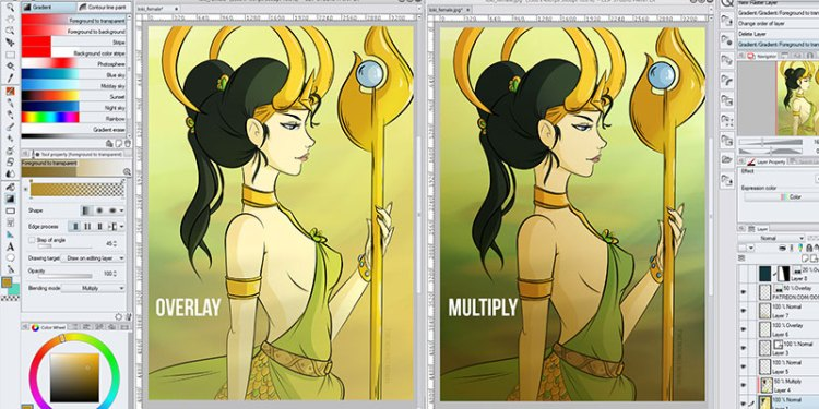 There are many blending modes available for your gradient layers in clip studio paint, here's an example!