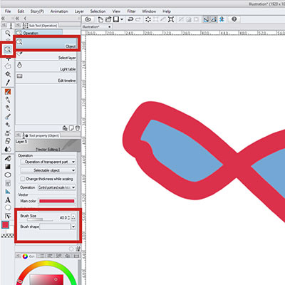 Use the Operation tool to change the brush shape of a vector stroke!