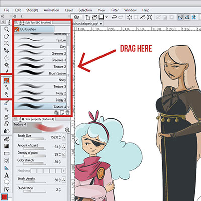 Select your brush in the sub tool section on clip studio paint!