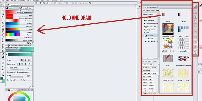 Drag and drop your gradient on clip studio paint to import it from clip studio assets!