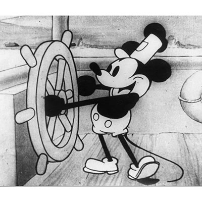 Classic Disney art style with mickey mouse in steamboat willie