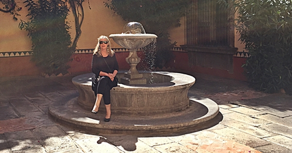 hacienda courtyard fountain