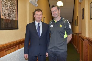 Chief Executive Seamus Neely welcomes Senior Football Team Manager, Rory Gallagher