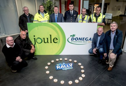 Cllr. Gerry McMonagle and Superintendent David Kelly with Eamon McGee, Clerk of the Course for the Joule Donegal International Rally along with Donegal International Rally organisers, members of the Donegal Joint Policing Committee and Donegal County Councils Litter Management Team promoting the message 'Let's Rally Together' for an incredible weekend.