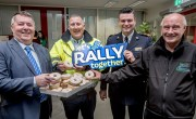"Pictured at this morning's launch of the ""Let's Rally Together"" for an incredible weekend and hoping that these are the only donuts they see this weekend was Cllr. Gerry McMonagle, Chair of Donegal Joint Policing Committee, Martin Roarty, Donegal County Council Litter Warden, Superintendent David Kelly and Eamon McGee Clerk of Course for the Joule Donegal International Rally."