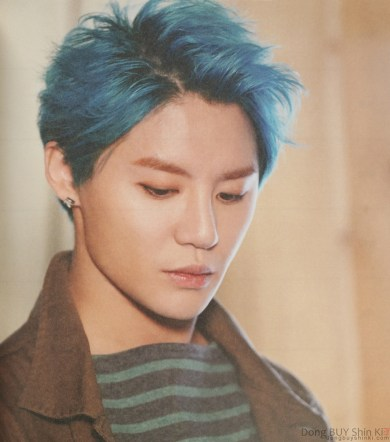 Junsu blue hair thoughtful Xia Jun Su sexy handsome beautiful