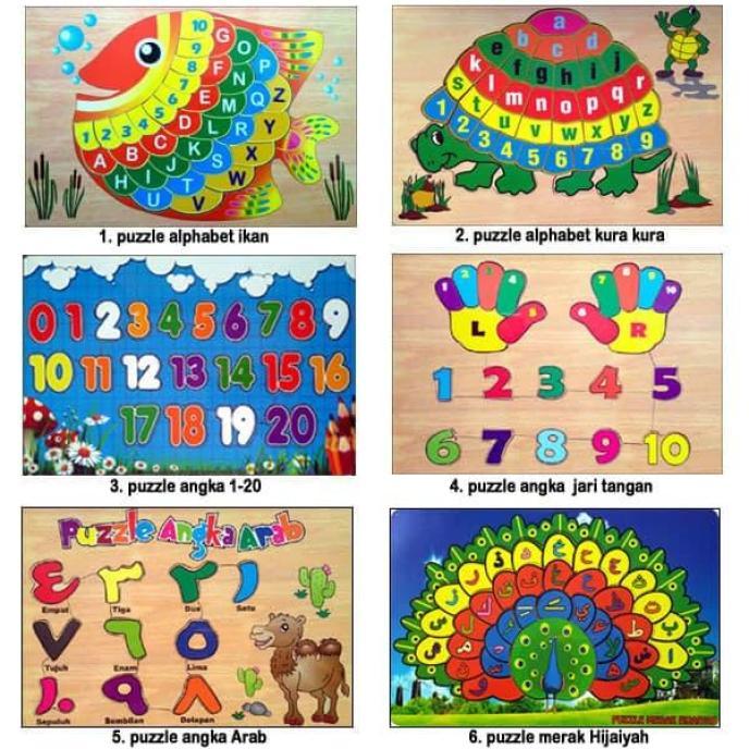 Mainan Anak Edukatif Kayu Puzzle Hewan dan Alphabet