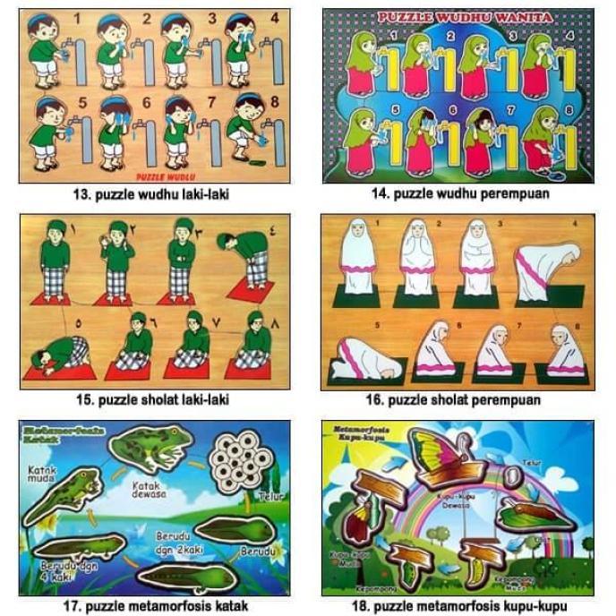 Mainan Edukatif Anak Kayu Puzzle Hewan dan Alphabet Huruf