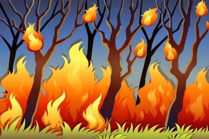 Krisna menelan api hutan