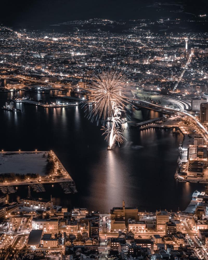函館山夜景と花火