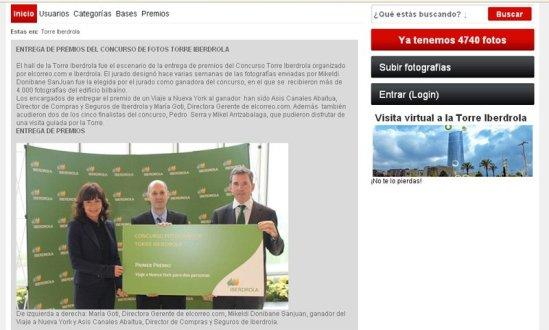 Ganador Premio Torre Iberdrola · Sitio Web de El Correo.com