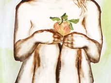 """""""Apple"""" - DETAIL 2, oil on dyed canvas - 168 x 139 cm, 2008"""