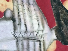 """At The Sun"" - DETAIL 1, oil on dyed canvas - 136 x 185 cm, 2006"