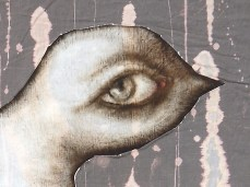 """""""Bird With A Human Eye"""" - DETAIL 1, oil on dyed canvas - 200 x 140 cm, 2006"""