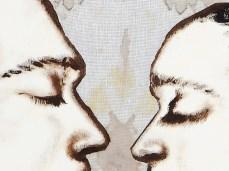 """Queens & Jacks"" - DETAIL 1, oil on dyed canvas - 86 х 86 cm, 2006"