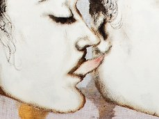 """""""Queens & Jacks"""" - DETAIL 2, oil on dyed canvas - 86 x 86 cm, 2006"""