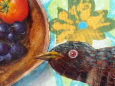 """""""Curiously"""" - DETAIL 1, oil on dyed canvas - 65 x 65 cm, 2010"""