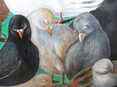 """Night Birds"" - DETAIL 2, oil on canvas - 55 x 55 cm, 2010"