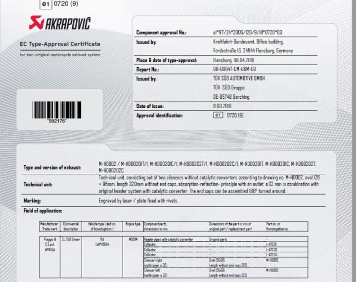 Certificado de homologación para escape cafe racer