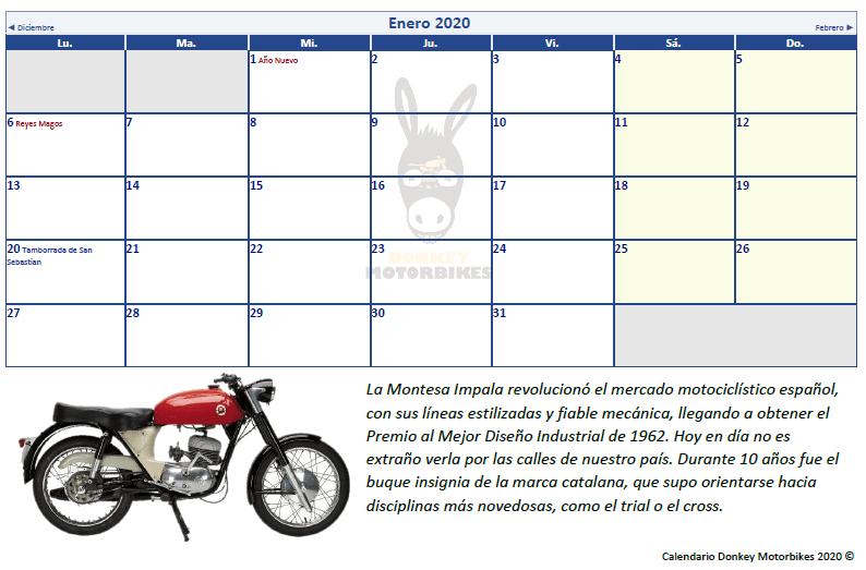 Calendario de motos Donkey Motorbikes 2020