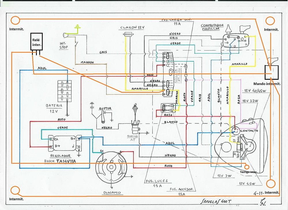 Esquema eléctrico Sanglas 400T con intermitentes